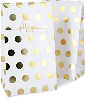 Juvale Gold Foil Party Goody Gift Bags and Stickers for Favors, Treats (24 Pack)