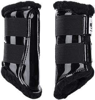 Dressage Sport Boot (DSB, for Horses, Medium, Patent Black/Black Fleece, Pair