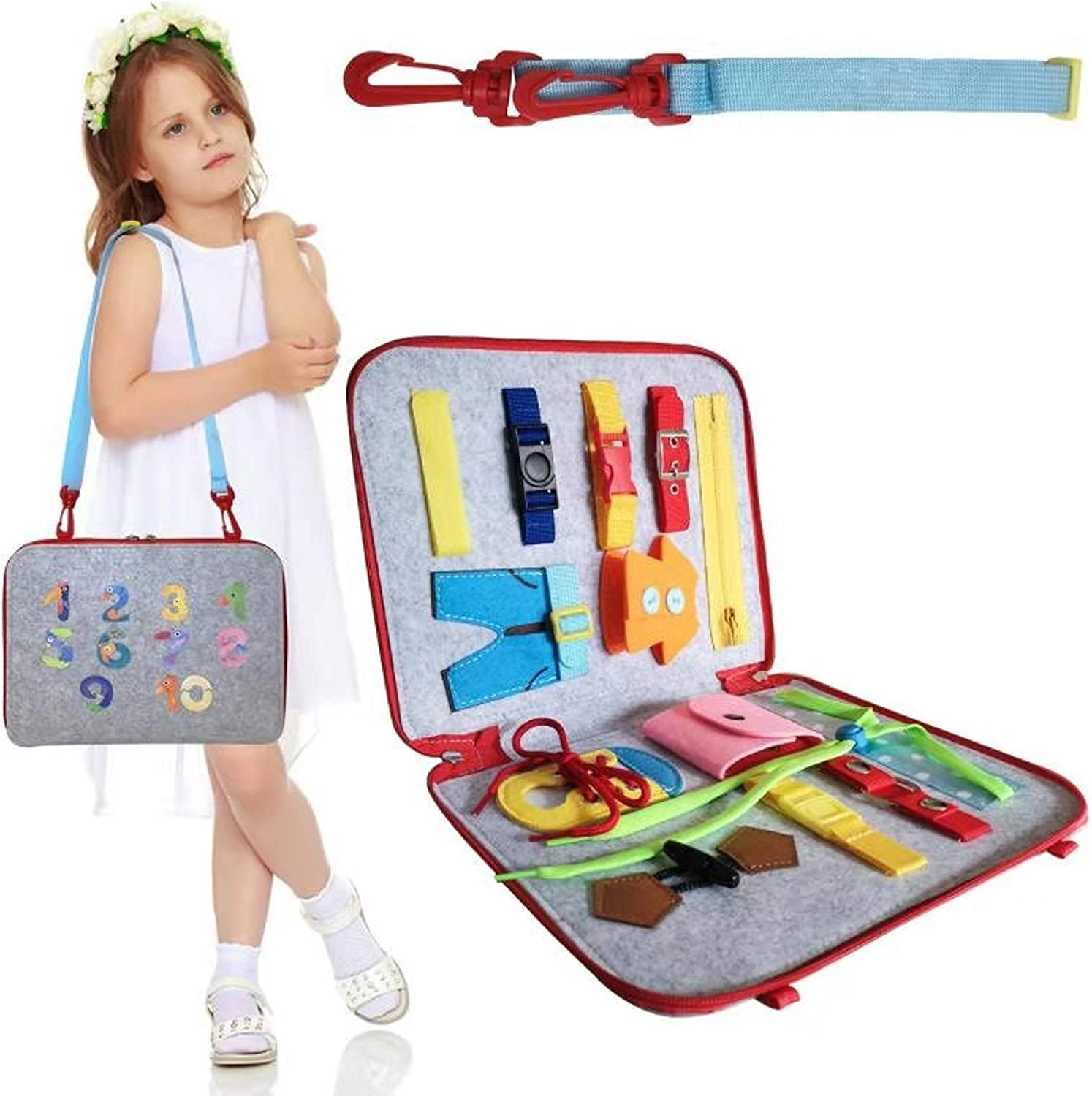 Busy Board for Toddlers 1-6, Travel Toys for Toddlers 1 2 3 4, Montessori Basic Skills Dress Zipper Latch Buckle Learning Book, Great Airplane Carseat Stroller Birthday Gift for Babies Boys and Girls