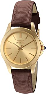 """Invicta Women's 15150""""Angel"""" 18k Yellow Gold Ion-Plated Stainless Steel and Brown Leather Watch"""