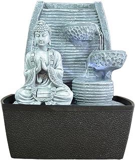 Zen'Light MEDIDATION Fontaine d'Intérieur Mur Bouddha Méditation, Gris Pierre/Noir