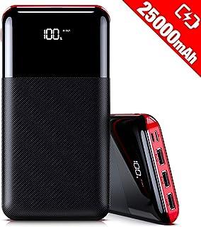 モバイルバッテリー 大容量 25000mAh 急速充電 LCD残量表示 スマホ充電器 Type-CとMicro入力ポート(2.4A+2.4A) 3USB出力ポート(2.4A+2.4A+2.4A) iPhone/iPad/Android各種対応 地震/災害/旅行/出張/緊急用などの必携品(Black&Red)