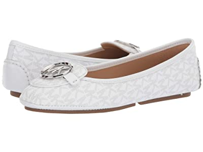 MICHAEL Michael Kors Lillie Moc (Bright White Mini MK Logo Coated Canvas/Patent) Women