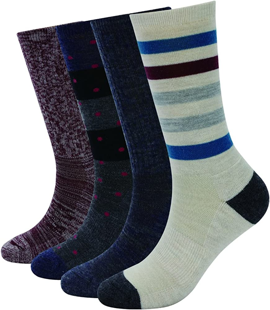 Enerwear 4 Pack Women's Merino Wool Outdoor Hiking Trail Crew Sock (US Shoe Size 4-10½, Khaki/Grey/Multi)
