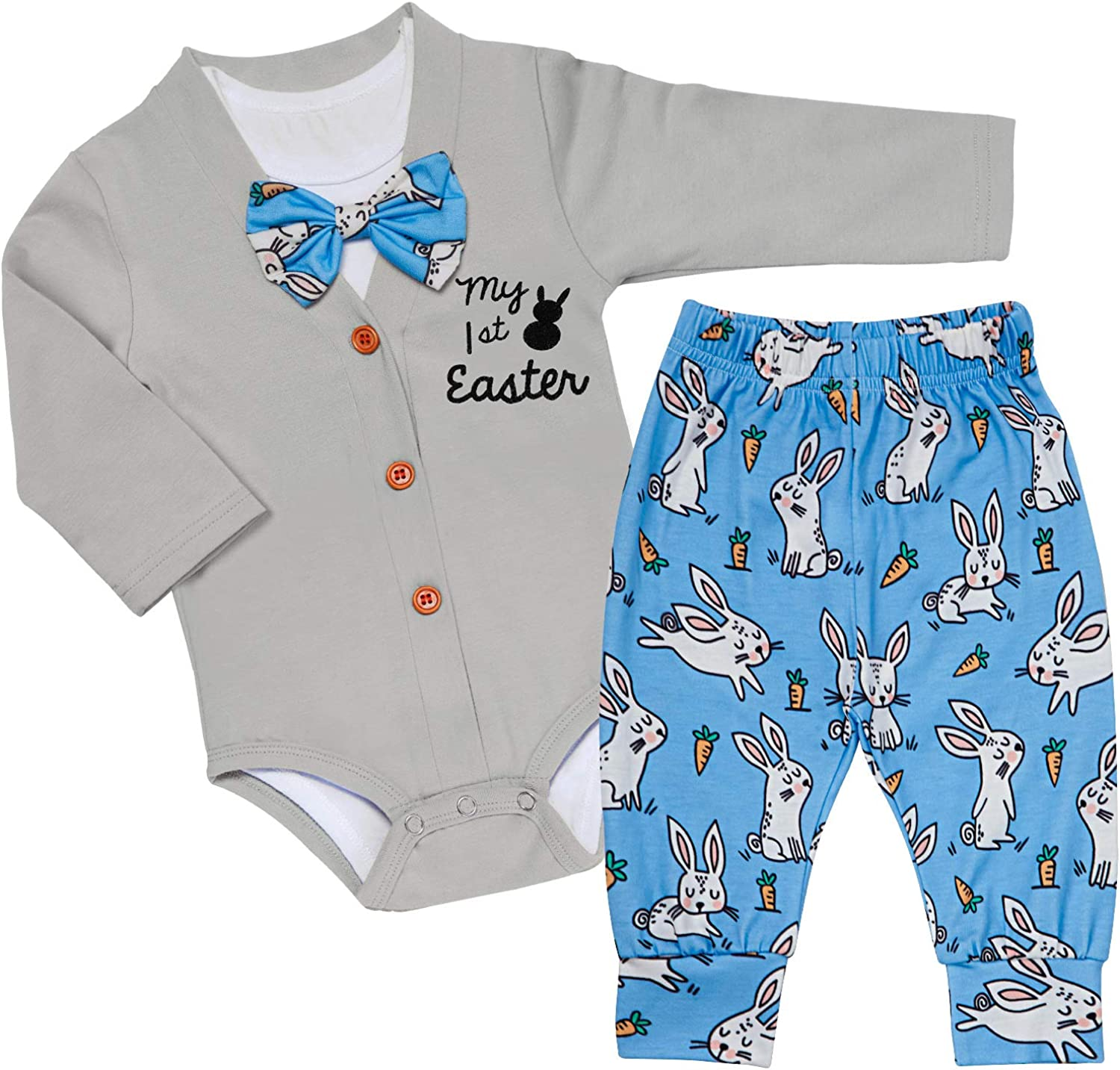My 1st Easter Baby Boys Clothes Romper Long Sleeve Bodysuit + Radish Pants Outfit 3PCs Sets