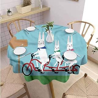 ScottDecor Christmas Tablecloth Kawaii pad Round Tablecloth Rabbits in a Tandem Bicycle Diameter 36