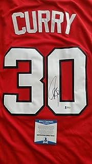 336d1db66771 Stephen Curry Autographed Signed Memorabilia Red Davidson Wildcats Jersey W  Beckett Coa Nba Warriors