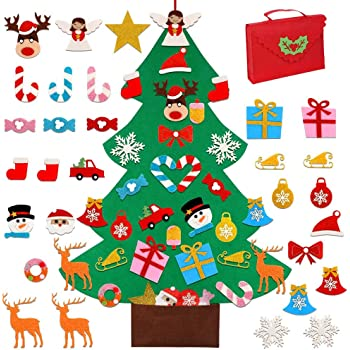 OurWarm DIY Felt Christmas Tree for Kids, 3ft Christmas Tree with 30pcs Glitter Ornaments for Kids Xmas Gifts Christmas Door Wall Hanging Decorations