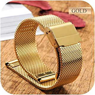 Surprise S Milanese Loop Strap 18Mm 20Mm 22Mm Watch Band for Dw Metal Buckle Stainless Steel Band 12/14/16/17Mm-Gold-14Mm