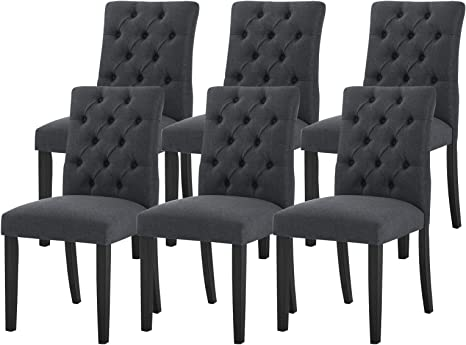 Amazon.com - Dining Chair Set of 6 Kitchen Chairs Fabric Button
