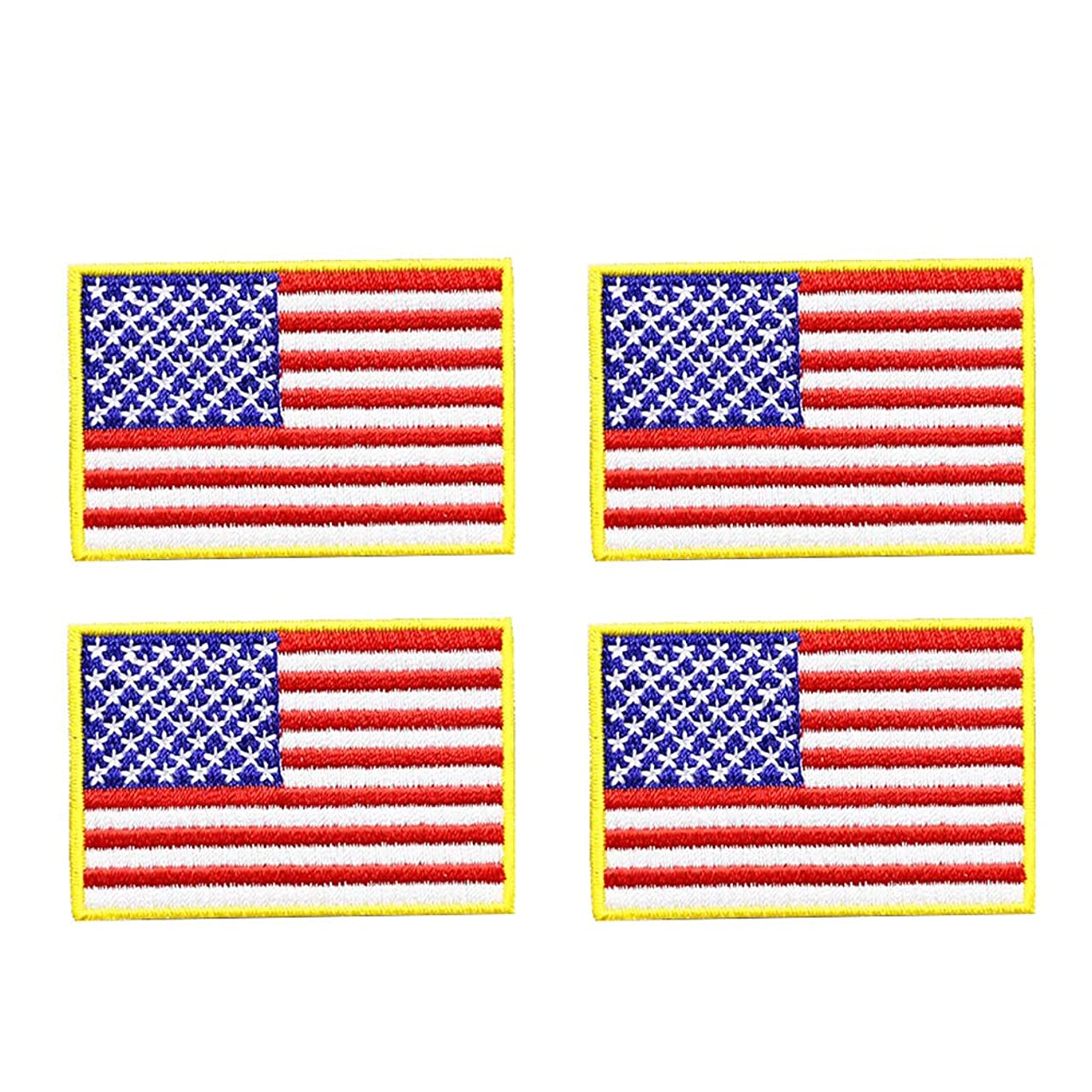 4 Pcs American US Flag Embroidered Cloth Sew on Iron on Patch Golden Yellow Border. United States of America Military Uniform Iron On Sew On Emblem.