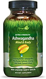 Irwin Naturals Extra Strength Ashwagandha Mind & Body Adaptogenic Herbs Supports Stress Response, Mood, Mental & Physical ...