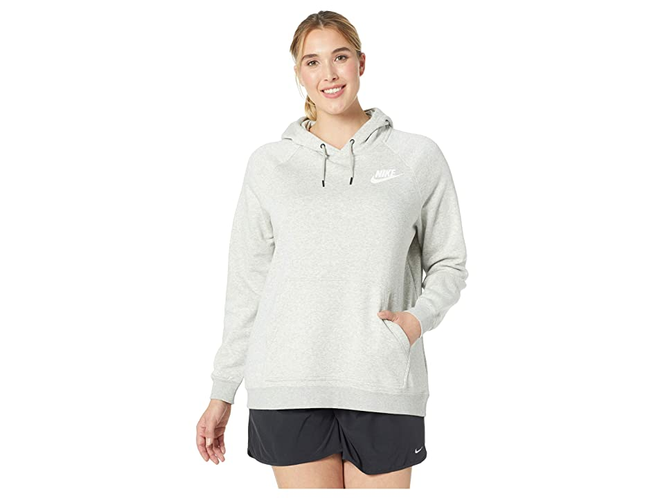 Nike Plus Size Rally Extended Hoodie (Grey Heather/Pale Grey/White) Women