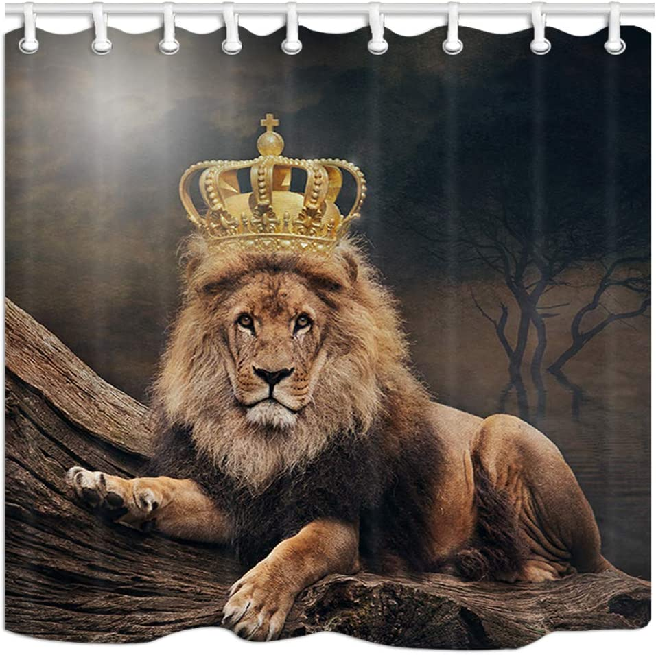 JAWO At the price of surprise Animal Shower Curtain Large Lion Max 61% OFF with Crown Cat Polyester