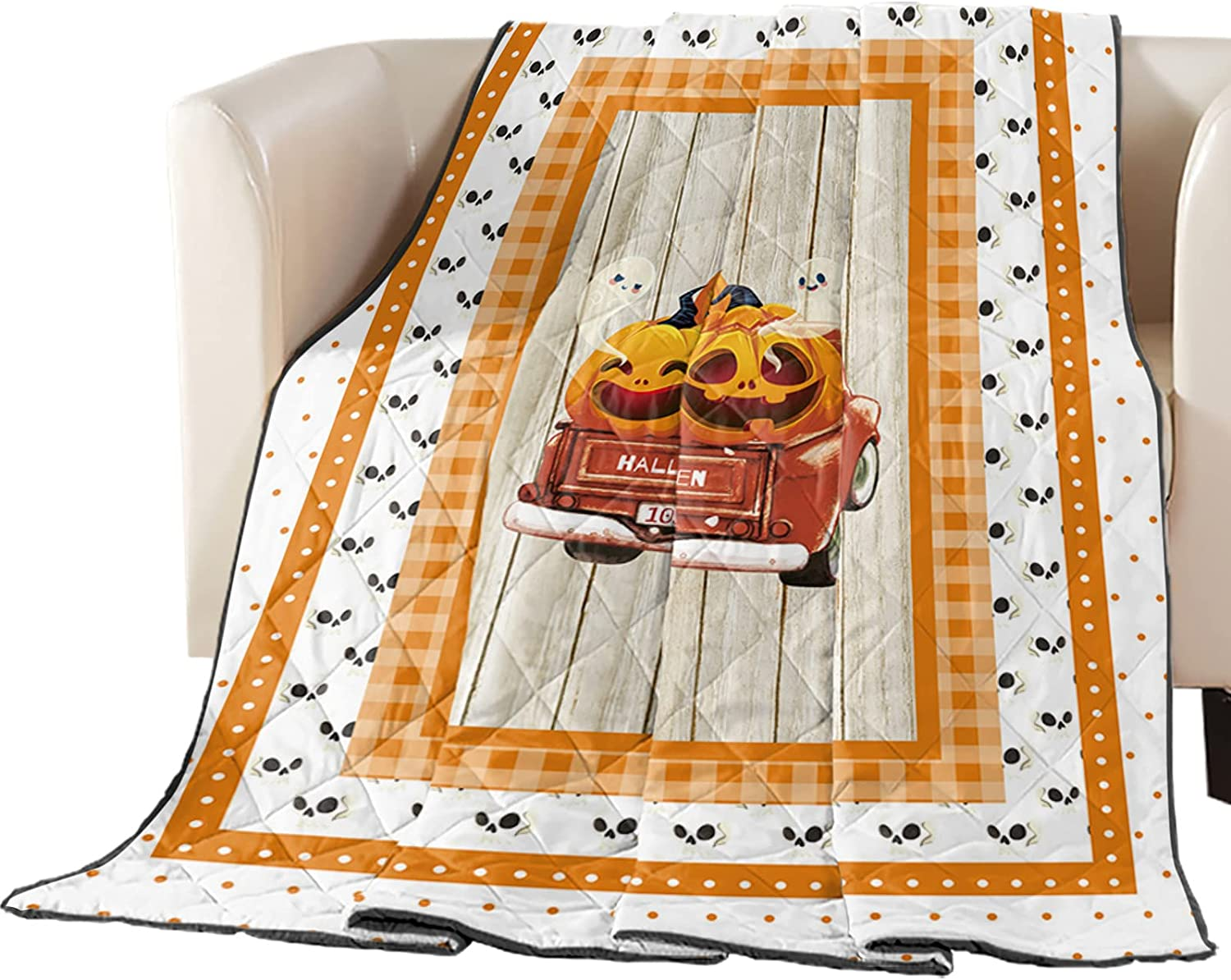 Seasonal Wrap Introduction Premium Coverlet Diamond Stitched unisex Quilted Halloween Truc 64x88in