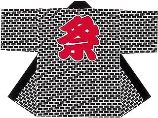 【お祭り?子供用はっぴ】シルクプリント子供袢天セット帯?鉢巻付き-B9624(黒?レンガ柄)