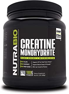 NutraBio Creatine Monohydrate (1000 Grams) - Micronized, Unflavored, HPLC Tested