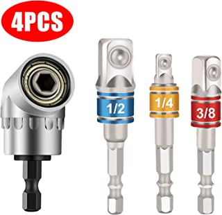 Impact Grade Driver Socket Adapter Extension Set + 105 Degree Right Angle Driver,..