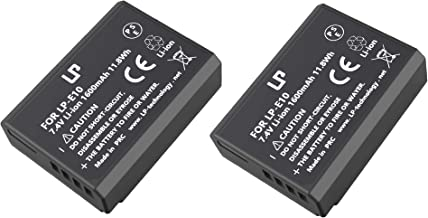 LP LP-E10 Battery Pack, 2-Pack Battery, Compatible with Canon EOS Rebel T3, T5, T6, T7, T100, 1300D, 3000D, 4000D & More(Not for T3i T5i T6i T6s T7i)
