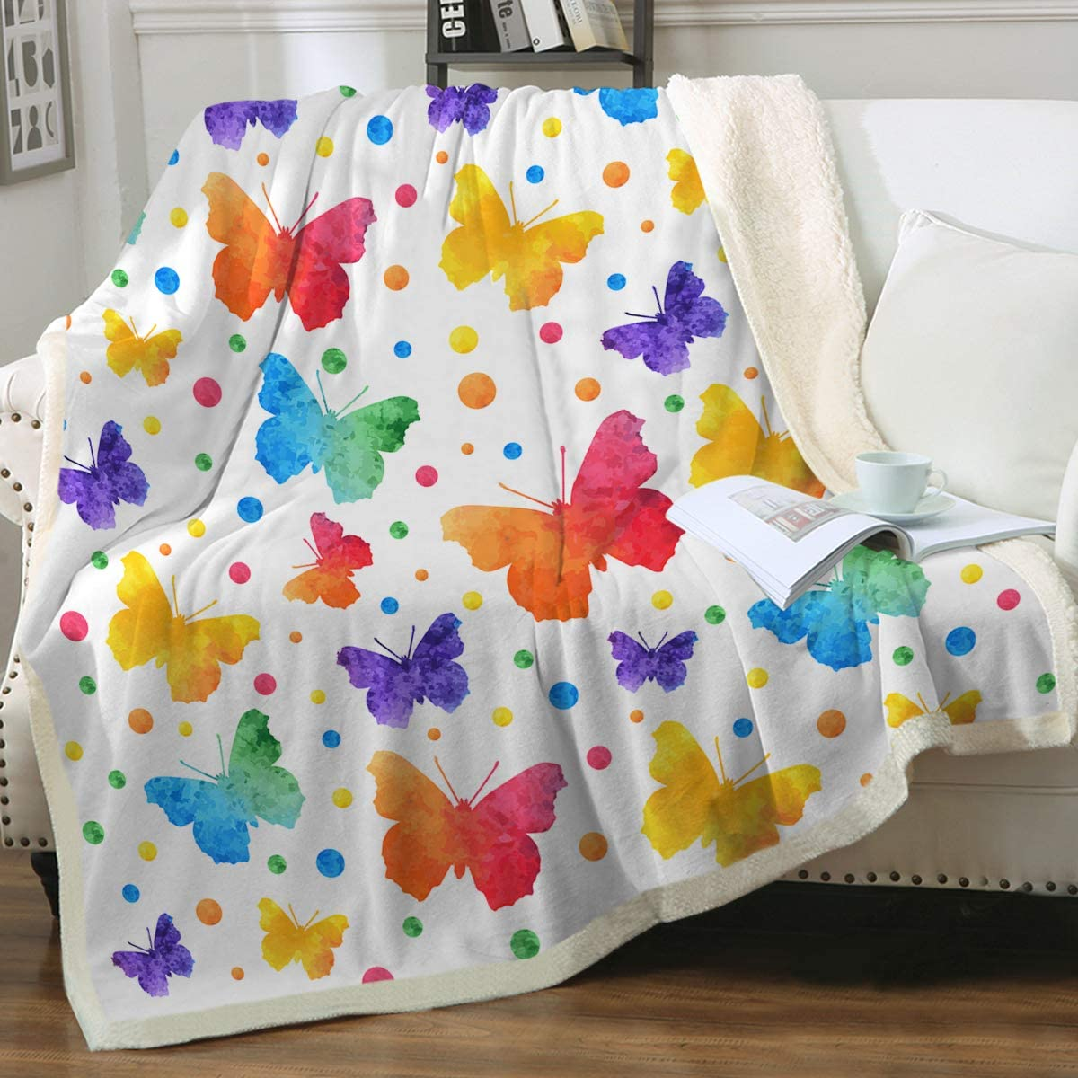 Sleepwish Colorful Butterfly Sherpa Fleece Max 71% OFF online shopping Throw for Kid Blanket