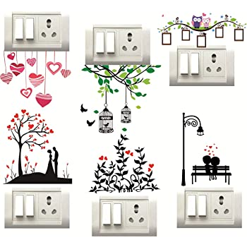 DecorVilla Heart Switch Board Wall Sticker/Decal for Living Room, Bedroom, Office (Vinyl, Standard, Multicolour)