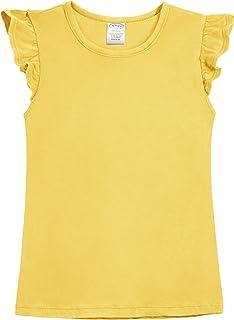 City Threads Girls' All Cotton Short Flutter Sleeve Top Blouse Shirt School, Party