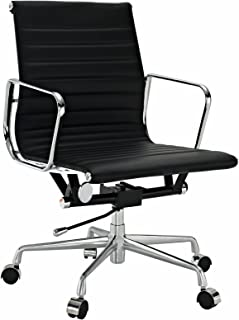 EMODERN FURNITURE Eames Style Aluminum Group Management Office Chair Reproduction Leather Black