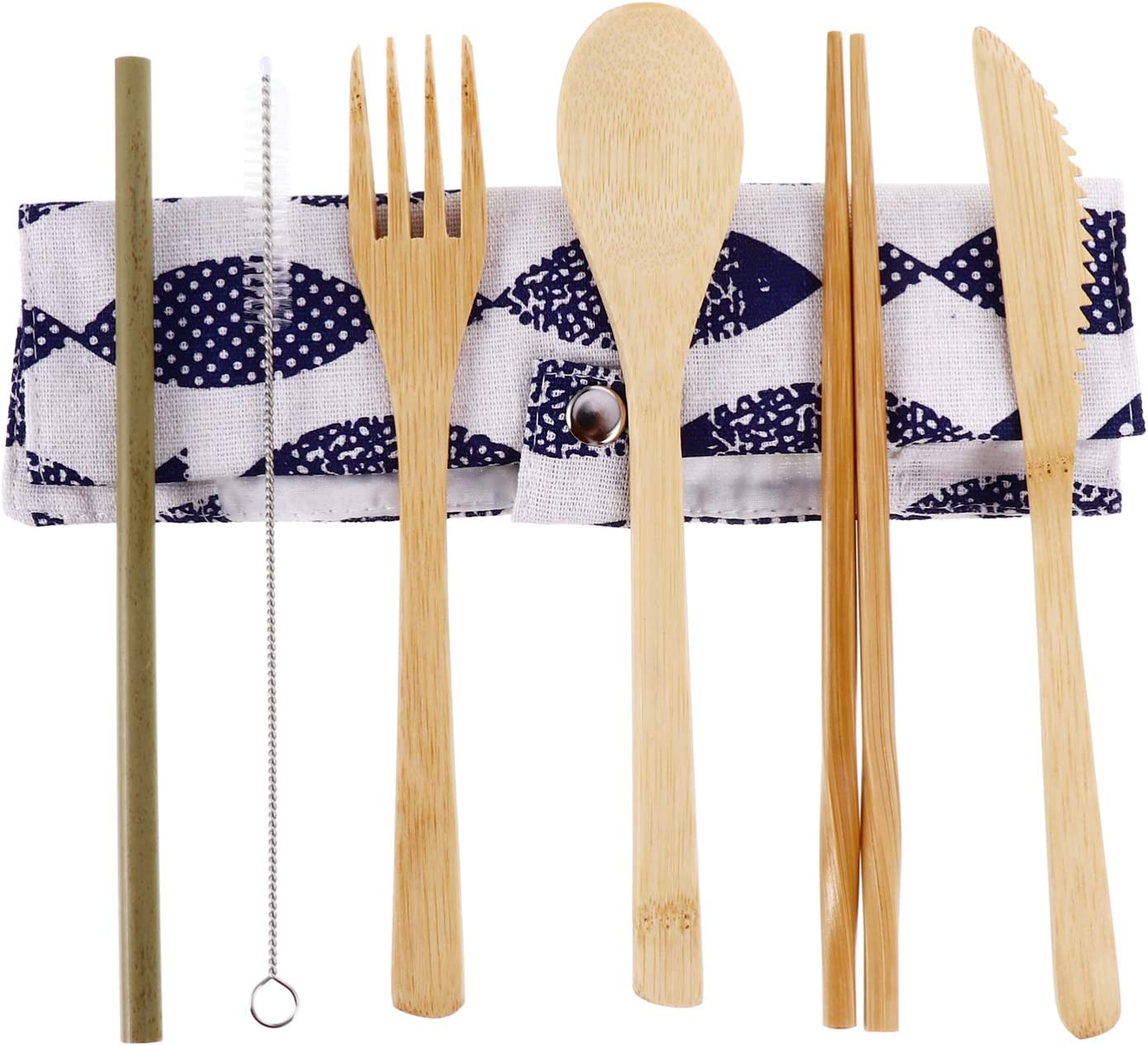 HEMOTON Bamboo Sales of SALE items from SEAL limited product new works Travel Utensils Cutlery with Pouch Set Spo Cotton