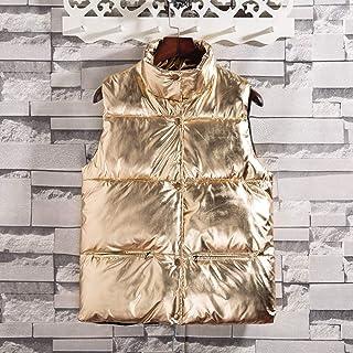 Chaleco de Mujer de Plumón Ligero,Señoras Oro Plata Vest Par De Modelos Invierno Cálido Hacia Abajo El Algodón Casual Glit...