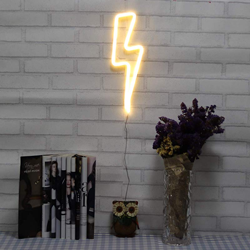 Neon Signs Lightning Bolt Battery Operated And USB Powered Warm White Art LED Decorative Lights Wall Decor For Living Room Office Christmas Wedding Party Decoration NELNB