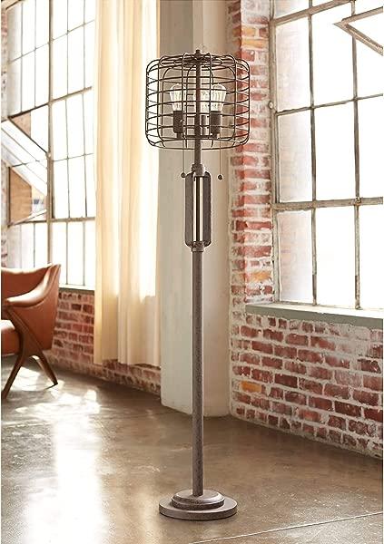 工业笼落地灯 3 灯农舍生锈青铜 LED 灯泡客厅卧室办公室灯富兰克林钢铁厂