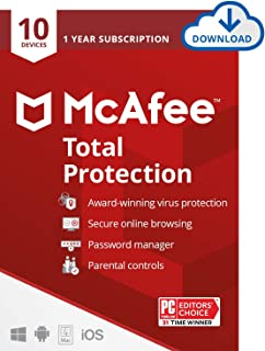 McAfee Total Protection 2021, 10 Device, Antivirus Internet Security Software, Password Manager, Parental Control, Privacy...