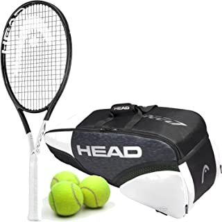 HEAD Graphene 360 Speed MP Midplus 16x19 Black/White Tennis Racquet Starter Set or Kit Bundled with Your Choice of a Djokovic Tennis Bag or Backpack and (1) Can of 3 Tennis Balls