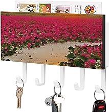 Crochet de clé mural, trieur de courrier, deux oiseaux sur une branche avec décoration de lac de fleurs pour la salle d'en...