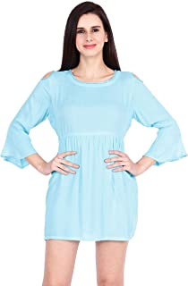 STITCH VASTRA Rayon Mini Dress with Cold Sleeves for Women