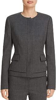 BOSS Hugo Boss Jasyma Women's Wool Tiered Striped Collarless Suit Jacket