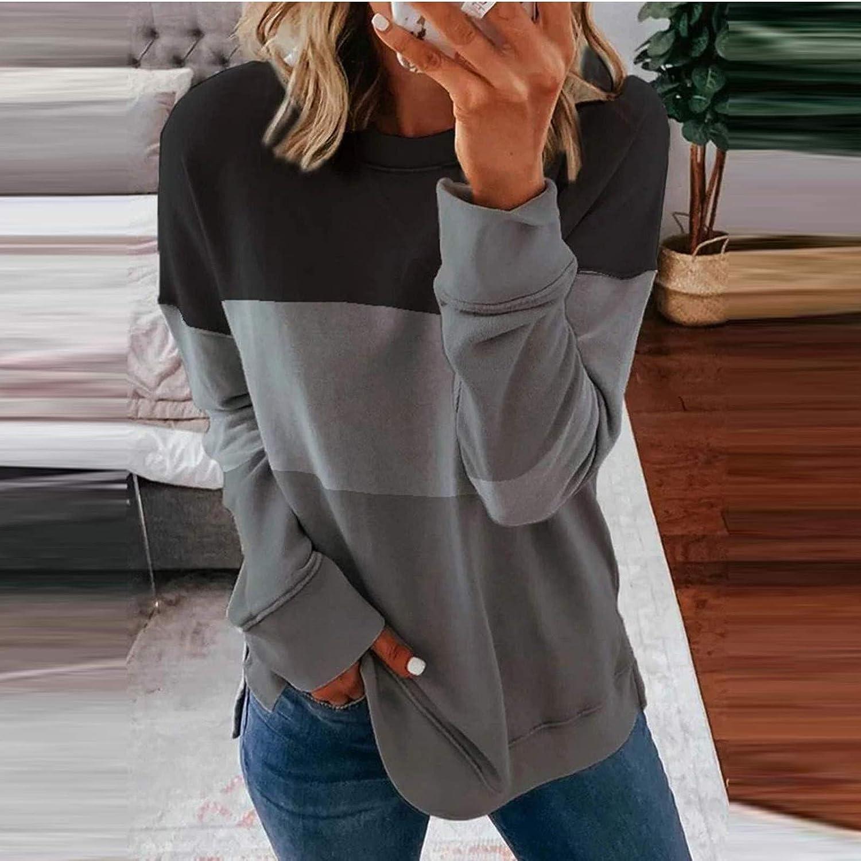 Crewneck Sweatshirts for Women, Women's Casual Long Sleeve Star Print Loose Pullover Top Shirts Oversized Sweatshirts