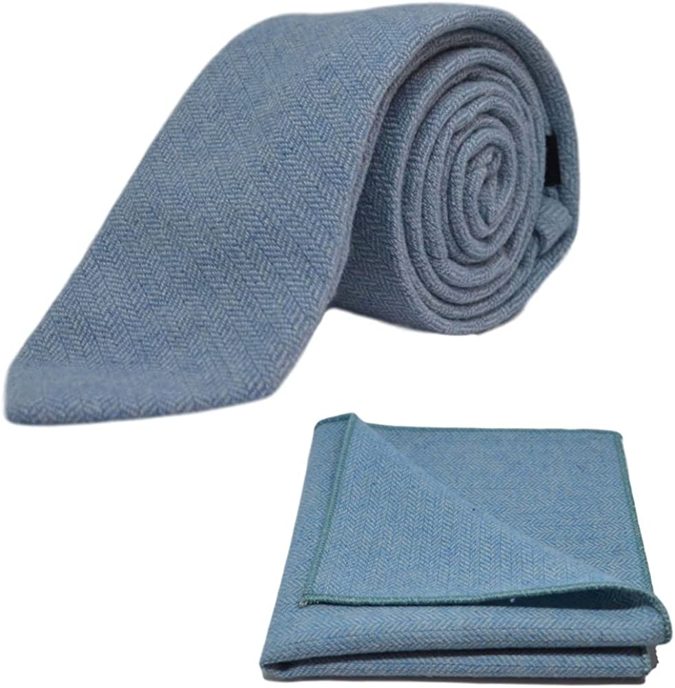 Sky Blue Herringbone Necktie & Pocket Square Set