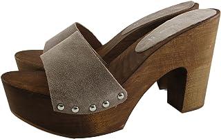 Silfer Shoes - Zoccolo Donna - Vera Pelle di camoscio, Colore Beige Susy