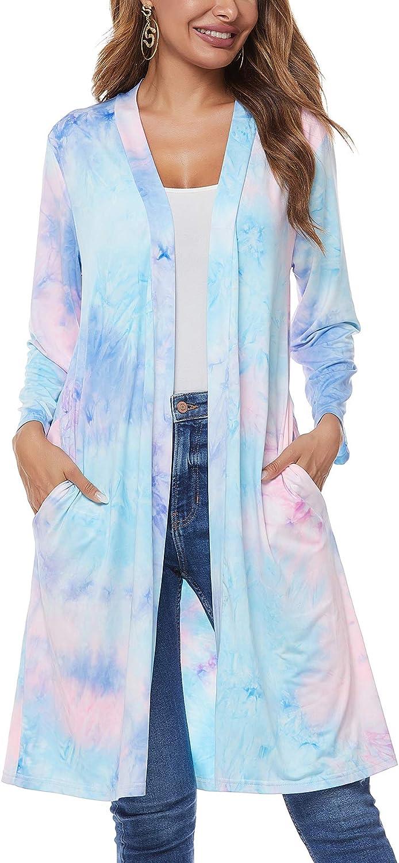 Women's Collarless Tie dye Draped Open Front Long Sleeve Loose Fit Lightweight Cardigans Outwear