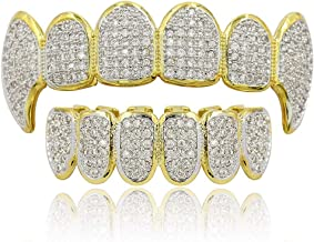 JINAO 18k Gold Plated All Iced Out Luxury Cubic Zirconia Face Diamond Gold Teeth Grillz..