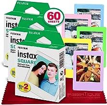 Fujifilm instax Square Instant Film (60 Exposures) Compatible Instax Square SQ6, SQ10 and SQ20 Instant Cameras + 5 Color Picture Frames + FiberTique Cleaning Cloth
