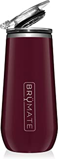 BrüMate 12oz Insulated Champagne Flute With Flip-Top Lid - Made With Vacuum Insulated Stainless Steel (Merlot)