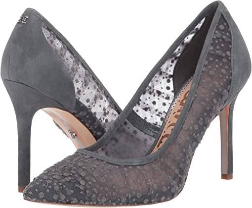 Grey Iris Velvet Dot Tulle/Suede Leather