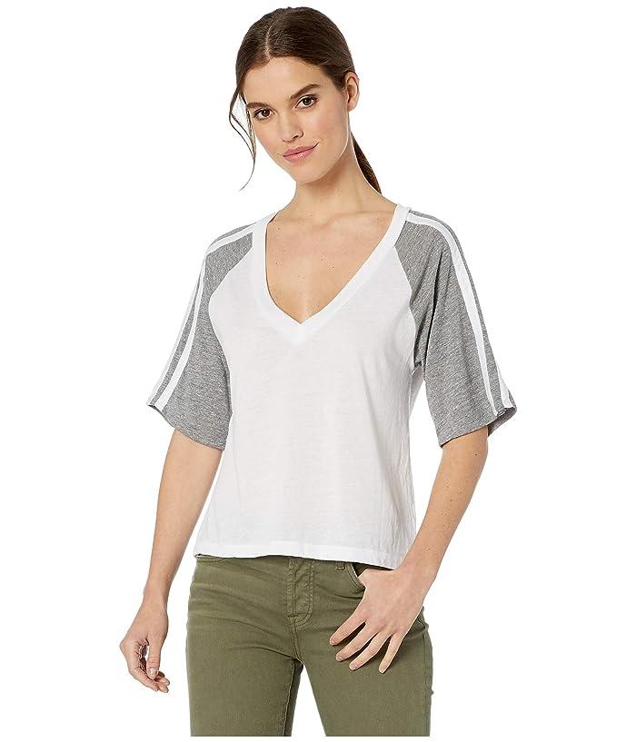 Chaser Blocked Jersey 3/4 Sleeve Tee (White/Streaky Grey) Women