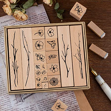 Plant and Flower Decorative Wooden Rubber Stamp Set Wood Mounted Rubber Stamps with Stamp Pad for Card Making Scrapbooking DIY Crafts 8 Pieces Vintage Wooden Rubber Stamps