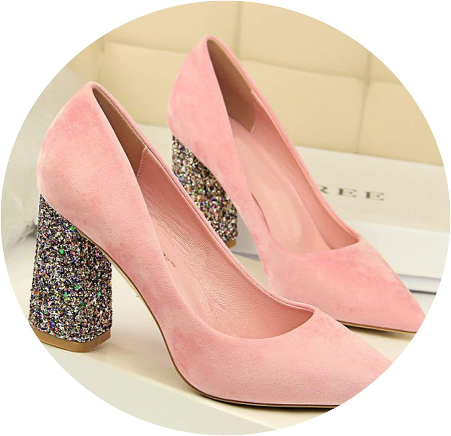 Mr Z Waroom High Heels shoes 2019 Fashion Flock Pointed Toe Women Shallow Pumps Bling Thick Heel shoes Party Wedding Pumps