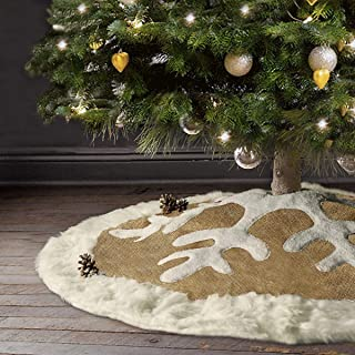 Ivenf Snowflake Christmas Tree Skirtwith White Thick Plush Faux Fur Trim, 48 inches Rustic Yellow Burlap Feel Xmas Decorations, Indoor Outdoor Home Holiday Party Decor, Red Black Plaid