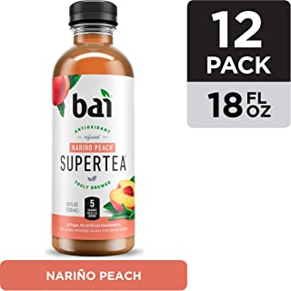 Bai Iced Tea, Narino Peach, Antioxidant Infused Supertea, Crafted with Real Tea (Black Tea, White Tea), 18 Fluid Ounce Bottles, 12 count