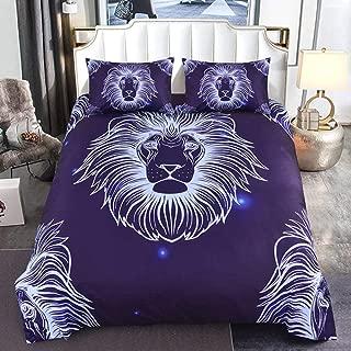 LSQQA 3D Lion Pattern Duvet Cover Set with Pillow Covers Galaxy European Line Animal Bedding Set AU/US/EU/UK Twin Size Bed Set,JX,455,EU Double 210x210cm